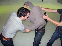 Mat and Rob's hockey fight, Sebastien holds Rob giving Mat an extra advantage